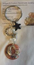 Buy star and moon black, clear and brown handmade keyring