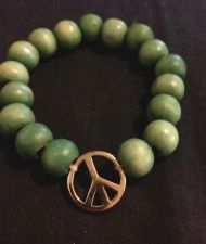 Buy Vintage Wood Bead Peace Sign Stretch Bracelet