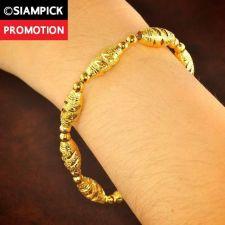 Buy 22k 24k Thai Baht Yellow Gold GP Dubai Beads Chain Bangle Bracelet Jewelry B128