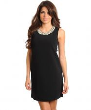 Buy BLACK SLEEVELESS SHIFT DRESS, WITH JEWELED PEARL NECKLINE ,PARTY DRESS