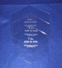 """Buy 3 Pc Side to Side Measured Hexagon Set -7"""", 8"""", 9""""- Clear Acrylic 1/8"""" Templates"""
