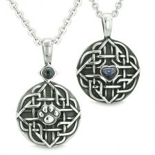 Buy Amulet Celtic Shield Knot Magic Heart and Protection Powers Blue Goldstone Pendant 18