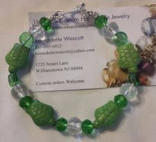 Buy turtle green and clear handmade bracelet sizing available