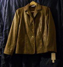 Buy New, sz. 8 ALFRED DUNNER Brown Snake Print Long Sleeve Collar Jacket/Coat