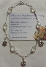 Buy ladybug and flower sterling silver handmade anklet sizing available