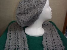 Buy Hand Crocheted Lacy Acrylic Sincerely Light Grey Slouch Hat and Scarf Set