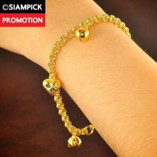 Buy Rolo Chain Thai 22k 24k Baht Yellow Gold GP Bangle Dangle Bracelet Jewelry B122