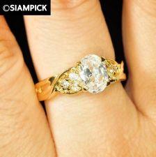 Buy CZ Oval Shape 24k Thai Baht Yellow Gold GP Wedding Ring Size 5 6 7 8 Jewelry R12