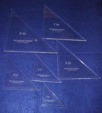 """Buy Laser Cut Quilt Templates- 6 Piece Triangle 3""""-8"""" - Clear Acrylic ~1/4"""""""