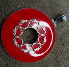 Buy Balinese Sterling Silver Round Coral Pendant with Filigree Handmade Artisan New