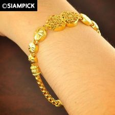 Buy Thai 22k 24k Baht Yellow Gold Plated GP Bead Chain Bracelet Bangle Jewelry B006