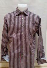 Buy Rufus Flip French Cuff Black Pink Striped Cotton Dress Shirt Men's M Medium