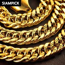 """Buy 24"""" Thai Baht 22k 24k Yellow Gold Plated Cuban Curb Chain Necklace Jewelry N028"""