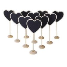 Buy US Seller Mini Wooden Heart Blackboard Chalkboard Stand Set of 5