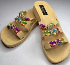 Buy New Grandco Beaded Sandals Flip Flop Slides Women Footwear Pools 22589 Natural
