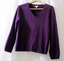 Buy EUC women's, Sz. XL, Charter Club, purple, long sleeve, pull-over v-neck sweater