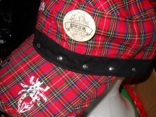 Buy Punk Brand Vintage look Painters hat studded buttons red black plaid cap