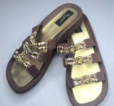 Buy Grandco Cheetah Jeweled Sandals Flip Flop Slide Pools Beach Resort Brown