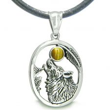 Buy Amulet Courage Howling Wolf Moon Charm in Sodalite Tiger Eye Eye Pendant 18 Inch Neck