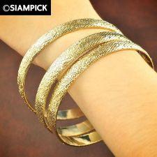 Buy 3x Stack Thai Baht 22k 24k Yellow Gold Plated GP Bangle Bracelet Jewelry B027