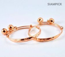 Buy Thai 22k Baht Pink Rose Gold Plated GP Baby Hoop Anklet Bangle Real Jewelry A002