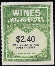 Buy US Internal Revenue $2.40 Wine Tax Stamp RE153 Series 1941 Mint NH