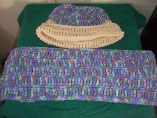 Buy Crocheted Blue OmbreWomen's Teens Infinity Scarf and Slouch Hat Set