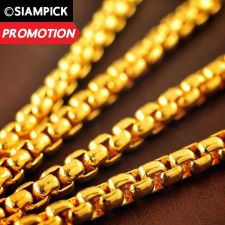 "Buy 24"" Thai Baht 22k 23k 24k Yellow Gold Plated GP Box Chain Necklace Jewelry N004"