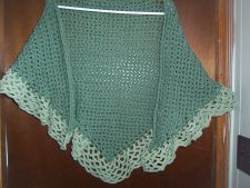 Buy Hand Crocheted Dark and Light Sage Woman's Teens Lacy Scarf Shawl Wrap