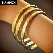 Buy 3x Stack Thai Baht 22k 24k Yellow Gold Plated GP Bangle Bracelet Jewelry B102