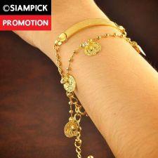 Buy Thai 22k 24k Baht Yellow Gold Plated GP Charm Bracelet Chain Bangle Jewelry B018