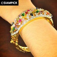 Buy CZ Mix Gems 22k 24k Thai Baht Yellow Gold Plated GP Bangle Bracelet Jewelry B033