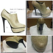 Buy HOT SEXY NEW GOLD GLITTER BLACK ANKLE BOOTS 7.5