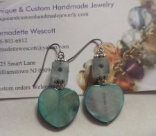 Buy heart mother of pearl and swarovski crystal handmade earrings