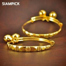 Buy Thai 23k 24k Baht Yellow Gold Plated GP Baby Hoop Anklet Bangle Jewelry New A004