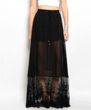 Buy Black Chiffon Skirt With Floral Applique