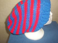 Buy Handmade Crocheted Red and Blue Striped Women's Teens Slouch Hat