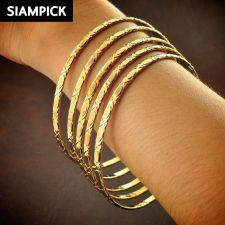 Buy 5x Thai Baht 22k 24k Yellow Gold Plated Love Stack Hippie Bangle Bracelet B105