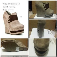 Buy HOT NEW BROWN WEDGE BUTTON DETAIL ANKLE BOOTS ZIP CLOSING 7.5