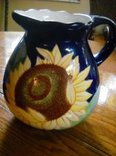 Buy Baum Bros Sunflower pitcher Cobalt Blue large beverage Style Eyes Rare pattern
