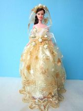 """Buy WEDDING GOWN PARTY YELLOW DRESS UP HANDMADM CLOTHES COSTUME FOR BARBIE DOLLS 12"""""""