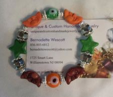 Buy star moon and evil eye brown, green orange handmade bracelet sizing available