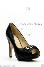 Buy Hot new sexy black peep toe court shoes gold buckle open toe work shoes 7.5