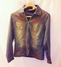 Buy EUC women's, sz. S, tantrums, blue, embroidered long sleeve, denim, jean jacket