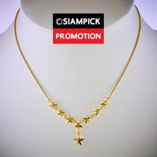 """Buy 18"""" Stars Stacked 22k 24k Necklace Thai Baht Yellow Gold GP Chain Jewelry N073"""