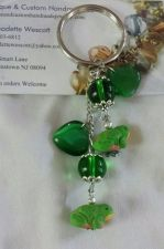 Buy frog and hearts, ceramic, cat's eye and glass handmade keyring