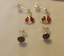 Buy lady bug sterling silver earrings 2 pairs