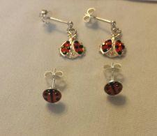 Buy lady bug sterling silver earrings 2 pairs