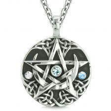 Buy Amulet Pentacle Magic Star Celtic Defense Sky Blue White Crystals Pentagram Pendant 2