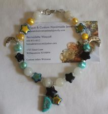 Buy star and moon blue black and yellow handmade anklet sizing available